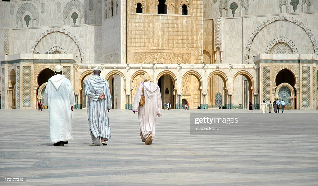 Worshippers Walk Towards Hassan II Mosque, Casablanca, Morocco : Stock Photo