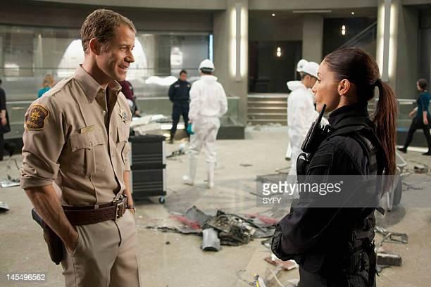 EUREKA Worst Case Scenario Episode 506 Pictured Colin Ferguson as Jack Carter Erica Cerra as Jo Luppo