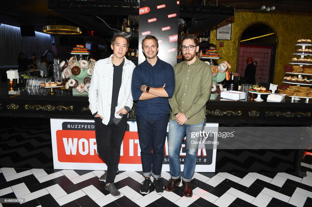 'Worth It' cast members Steven Lim, Andrew Ilnyckyj ,and Adam Bianchi attend the 'Worth It' party presented by Buzzfeed at 1 Oak on September 13, 2017 in New York City.