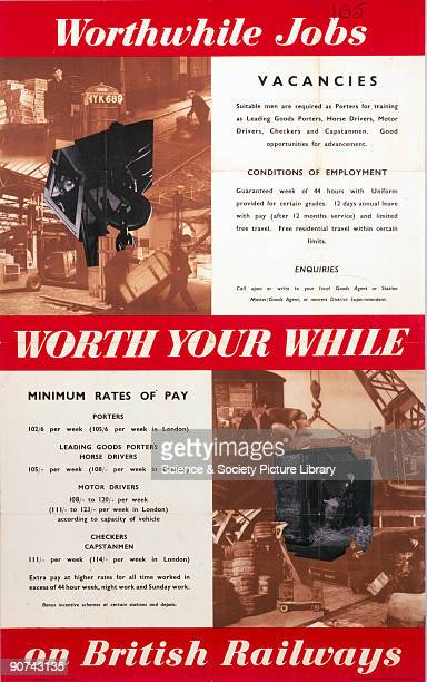 Worth Your While - Worthwhile Jobs on British Railways�. Poster produced for British Railways London Midland Region to advertise employment vacancies...