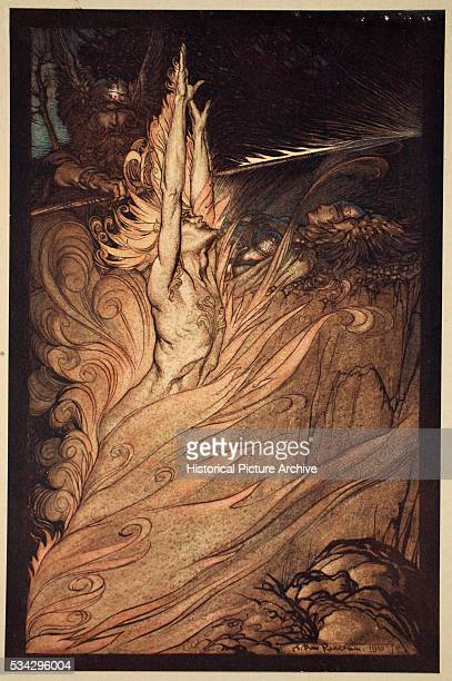 """Wotan summons Loge, the God of Fire in order to encircle Brunnhilde on the top of the mountain in a ring of magic fire. Illustration by Arthur..."