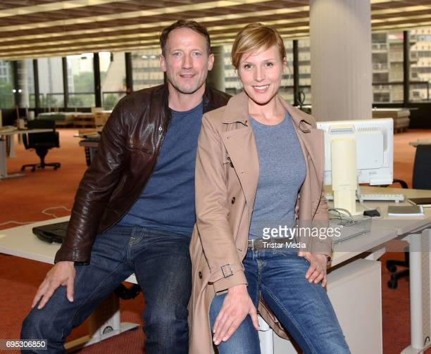 Wotan Wilke Moehring and Franziska Weisz during the 'Dunkle Zeiten' NDR Tatort Photo Call at ERGOVersicherung on June 12 2017 in Hamburg Germany