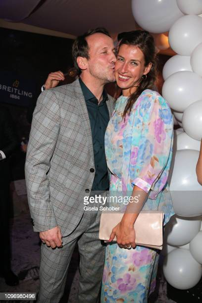 Wotan Wilke Moehring and his girlfriend Cosima Lohse during the PLACE TO B Berlinale party of BILD at Borchardt Restaurant on February 9, 2019 in...