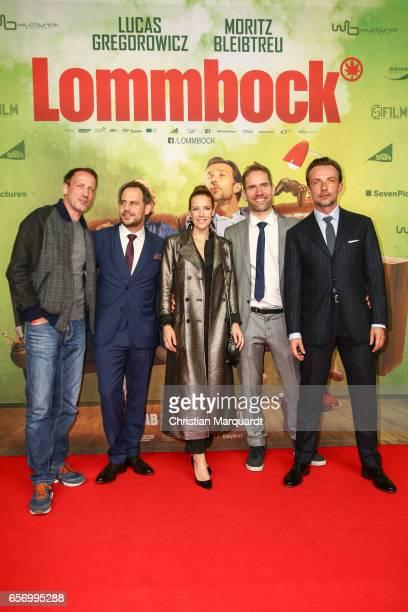 Wotan Wilke Moehring, Moritz Bleibtreu, Director Christian Zuebert, Lucas Gregorowicz and Alexandra Neldel, the main cast, attend the premiere of the...