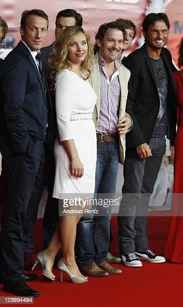 Wotan Wilke Moehring Nadja Uhl Christian Ulmen and Simon Verhoeven attend the 'Maennerherzen 2 und die ganz grosse Liebe' premiere at CineStar on...