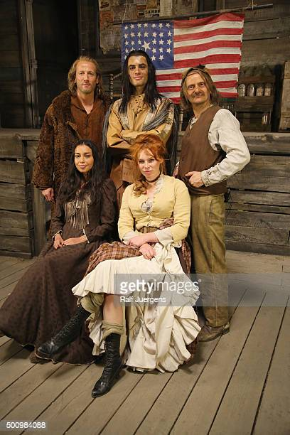 Wotan Wilke Moehring, Nik Xhelilaj, Milan Peschel, Iazua Larios and Henny Reents pose during a photo call for the television movie 'Winnetou' at MMC...