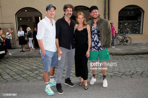 """Wotan Wilke Moehring, Pasquale Aleardi, Franziska Weisz and Sebastian Stroebel during the exhibition opening of """"Lost but found in MUC - Muenchner..."""