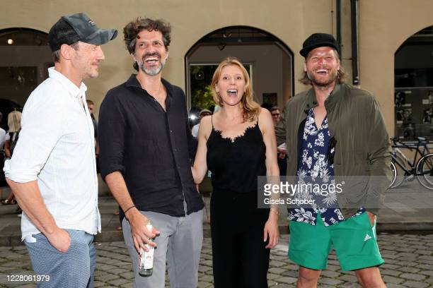 """Wotan Wilke Moehring, Pasquale Aleardi, Franziska Weisz and Sebastian Stroebel during the exhibition opening of """"Lost but found in MUC"""" - Muenchner..."""