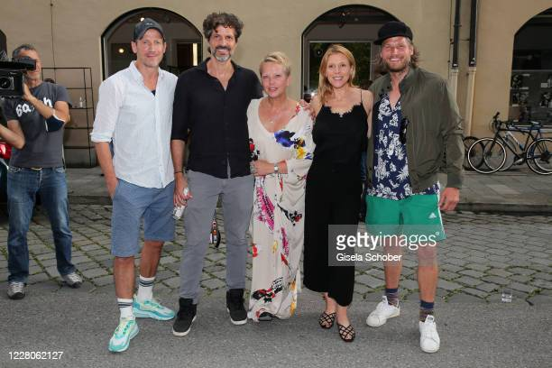 """Wotan Wilke Moehring, Pasquale Aleardi, Nicole Giesa, Franziska Weisz and Sebastian Stroebel during the exhibition opening of """"Lost but found in MUC..."""