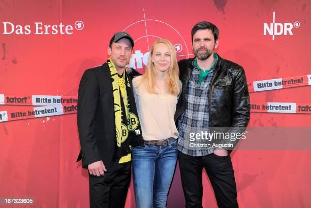 Wotan Wilke Moehring Petra SchmidtSchaller and Sebastian Schipper attend preview of Tatort 'Feuerteufel at Passage cinema on April 24 2013 in Hamburg...