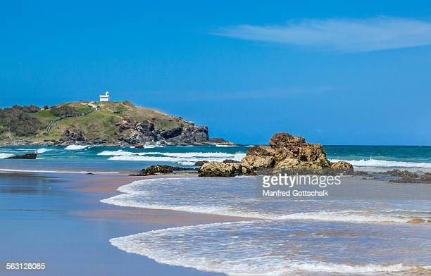 wotonga rocks lighthouse beach - port macquarie stock pictures, royalty-free photos & images
