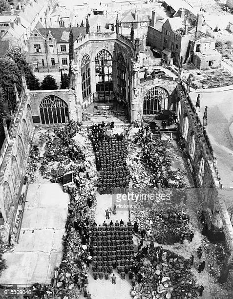 Wounded American soldiers attend Mother's Day services in blitzed Coventry Cathedral England The men are patients in nearby convalescent hospitals...