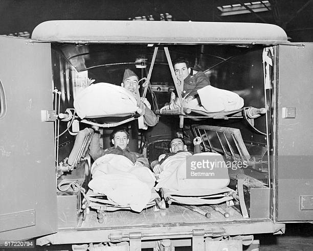Wounded Back from Nazi Prison Camps Jersey City New Jersey Among the seriously ill and wounded Army officers and men to arrive in New York today on...