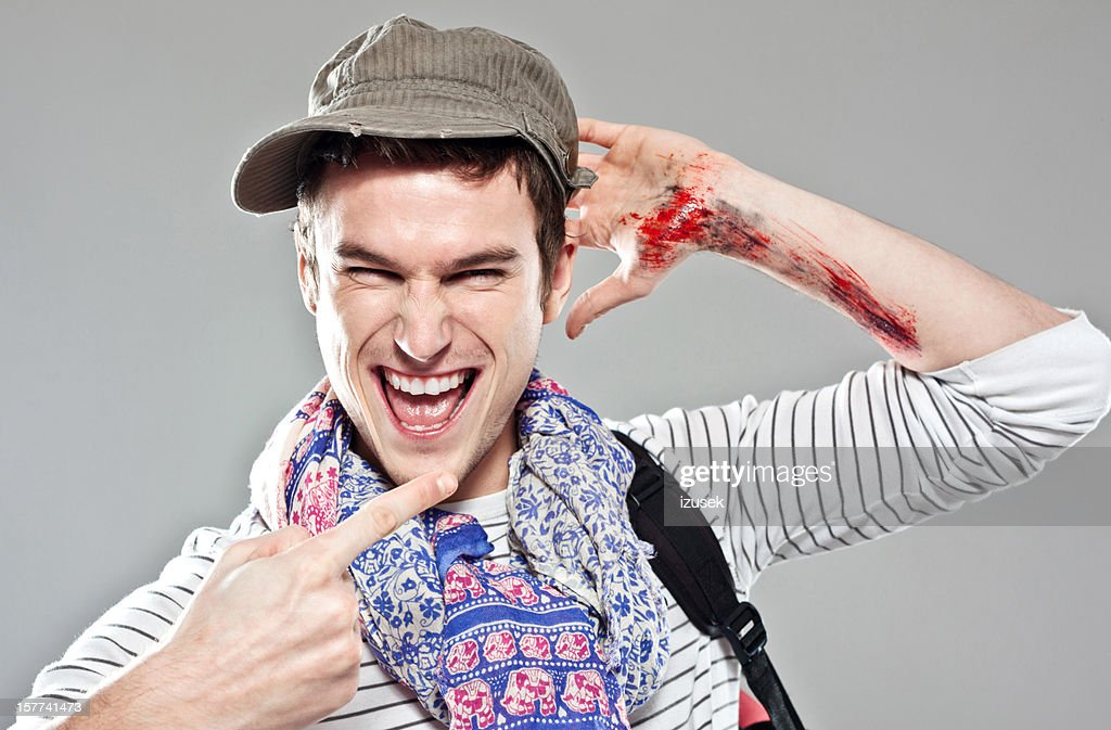 Wounded Backpacker : Stock Photo