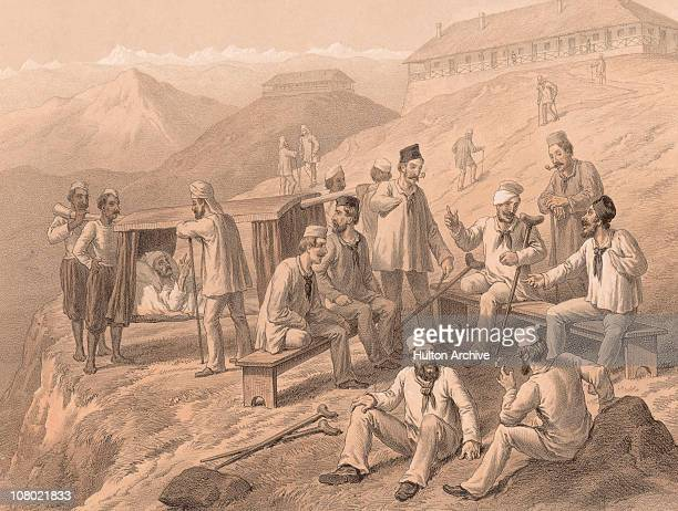 Wounded British soldiers at Dagshai hospital during the Indian Rebellion of 1857 A lithograph by T Picken after a drawing by Captain G F Atkinson