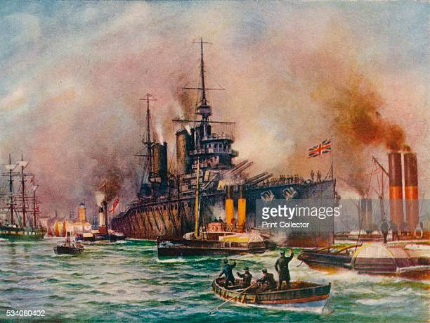 Wounded but Victorious' from 'The Wonder Book of the Navy for Boys and Girls' by Harry Golding 1919 A British battlecruiser being towed into port...