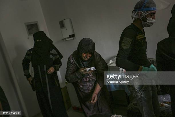Wounded elderly woman wait to receive medical treatment after Assad Regime and Iran backed terrorist's artillery fire hits deescalation zone in Idlib...