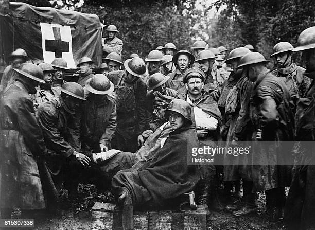 Wounded German prisoners receiving medical attention at firstaid station of 103rd and 104th Ambulance Companies on September 12 1918