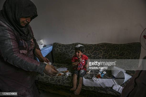 A wounded kid receives medical treatment after Assad Regime and Iran backed terrorist's artillery fire hits deescalation zone in Idlib Syria on...