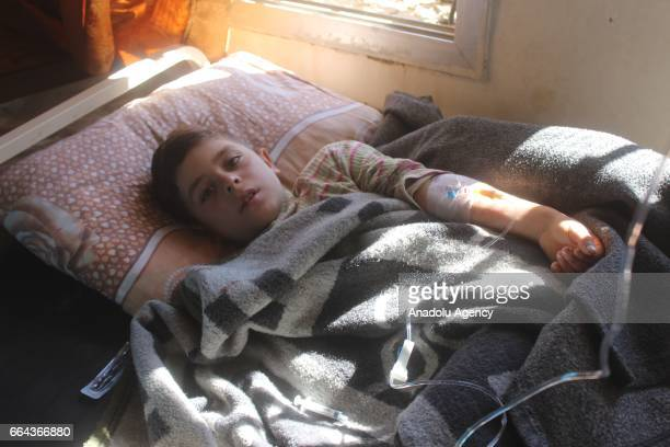 A wounded kid waits for the treatment at sahra hospital after a suspected chlorine gas attack by Assad Regime forces to Khan Shaykhun town of Idlib...