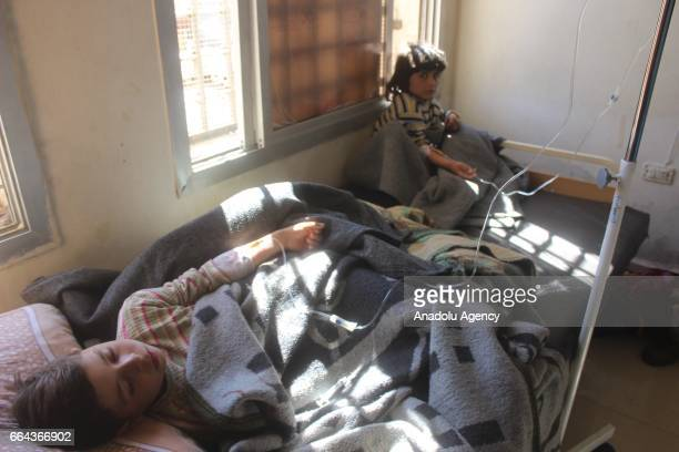Wounded kids wait for the treatment at sahra hospital after a suspected chlorine gas attack by Assad Regime forces to Khan Shaykhun town of Idlib...