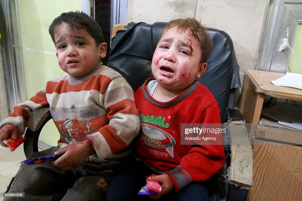 Wounded kids wait to receive medical treatment at the Sahra hospital after the war crafts belonging to the Assad Regime and Russian forces carried out airstrikes on residential areas at the opposition controlled Salihin neighborhood of Aleppo, Syria on November 17, 2016. It is reported that at least 94 people killed and 150 others wounded due to airstrikes within last 48 hours.
