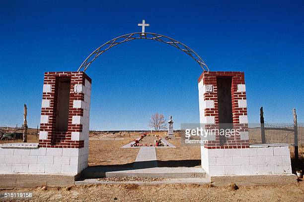 Wounded Knee South Dakota View of the burial ground of the 1890 Wounded Knee Indian Massacre