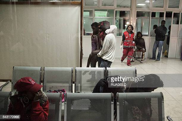 Wounded people arrive at the University Hospital of Antananarivo to receive first aid after a bomb blast around 7.30 pm local time at Mahamasina...