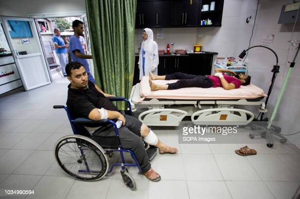 Wounded protesters being brought to the Al-Awde hospital in Gaza City after the Israeli navy used force with gunfire and tear gas canisters to the...