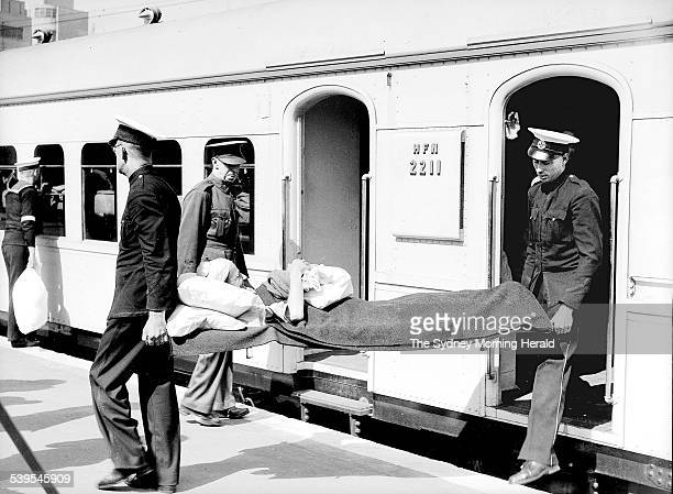 Wounded servicemen return by military ambulance train from Darwin at Central Railway Station Sydney on 12 March 1942 SMH NEWS Picture by FJ HALMARICK