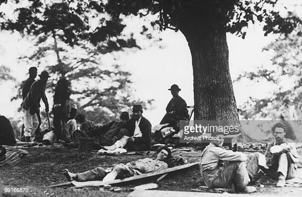 Wounded soldiers being tended in the field after the Battle of Chancellorsville Virginia on 2 May 1863