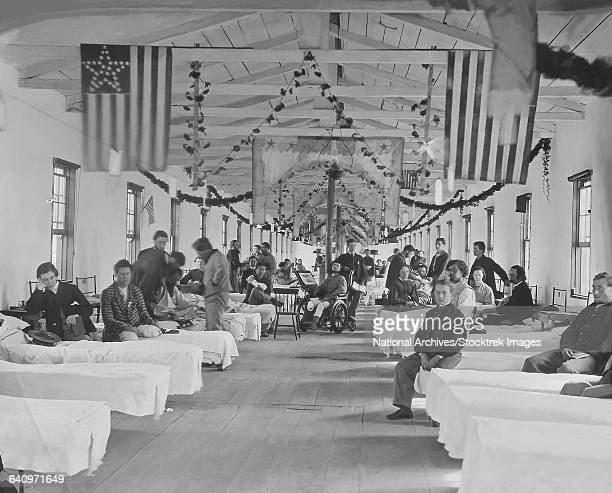 Wounded soldiers in hospital during the American Civil War.
