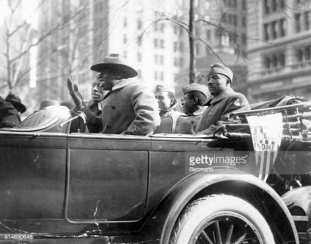 Wounded soldiers of the 369th Infantry Regiment known as the 'Harlem Hellfighters' parade up Fifth Avenue in New York City upon their return from...