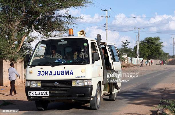 Wounded students are carried by ambulances after Al-Shabaab terrorists shot the students' way into Garissa University College, at least 147 students...