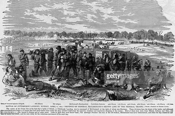 Wounded Union soldiers are brought to a field hospital behind the lines during the Battle of Shiloh Tennessee on April 6 1862