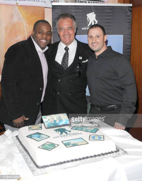 'Wounded Warrior' Marine Jamel Daniels actor Tony Sirico and Pat Giuro from Jean Danet bakery attend the Wounded Warrior Project Fundraiser at the...