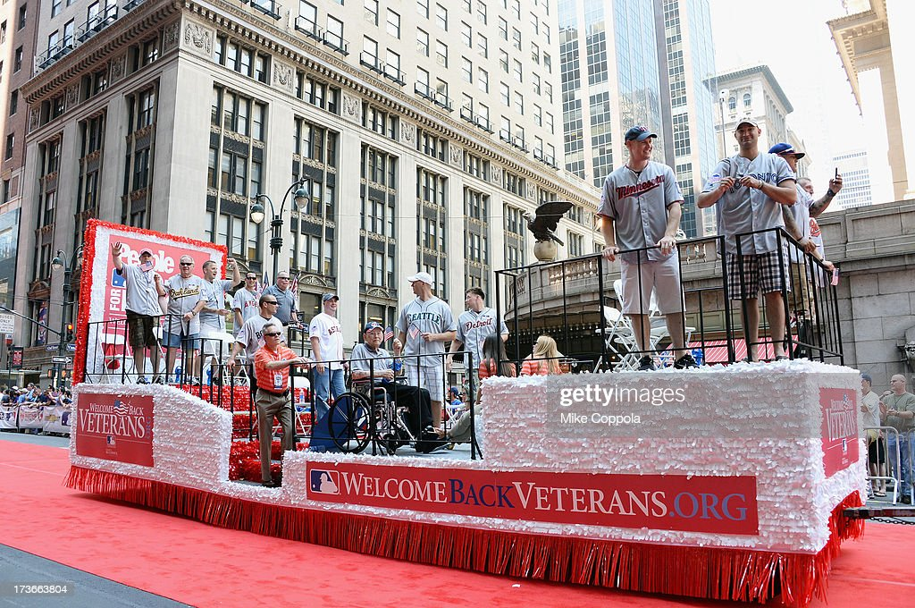 Wounded warriors pass by during the MLB All-Star Game Red Carpet Show on July 16, 2013 in New York City.