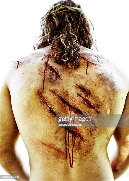 Wounds on Jesus Christe back.