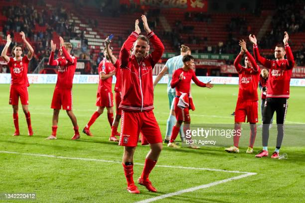 Wout Brama of FC Twente celebrates his sides win during the Dutch Eredivisie match between FC Twente and AZ at De Grolsch Veste on September 23, 2021...