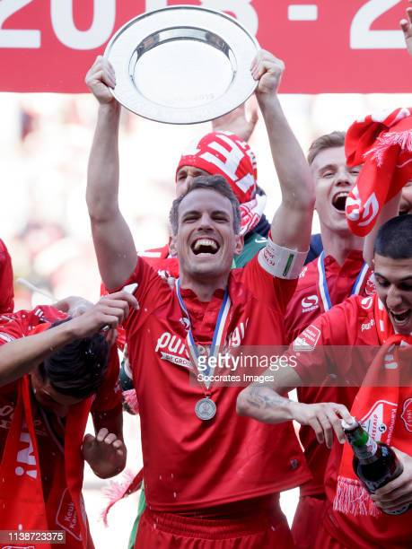 Wout Brama of FC Twente celebrates the championship with the trophy during the Dutch Keuken Kampioen Divisie match between FC Twente v AZ Alkmaar U23...