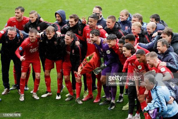 Wout Brama of FC Twente, Joel Drommel of FC Twente, Tyronne Ebuehi of FC Twente during the Dutch Eredivisie match between Fc Twente v ADO Den Haag at...