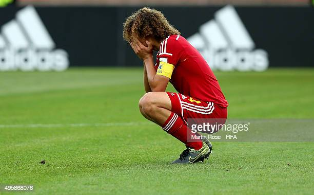 Wout Faes of Belgium looks dejected after the FIFA U17 Men's World Cup 2015 semi final match between Mali and Belgium at Estadio La Portada on...