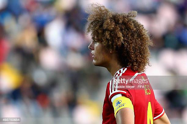 Wout Faes of Belgium looks on during the FIFA U17 World Cup Chile 2015 group D match between Belgium and Honduras at Estadio Fiscal on October 21...