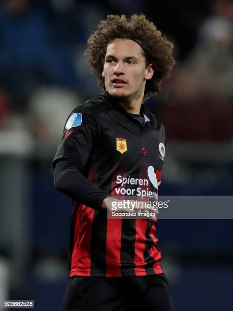 Wout Faes of Excelsior during the Dutch Eredivisie match between SC Heerenveen v Excelsior at the Abe Lenstra Stadium on February 24 2018 in...