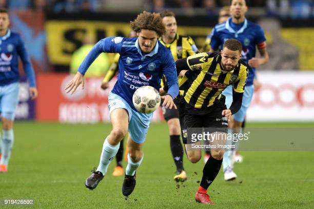 Wout Faes of Excelsior Luc Castaignos of Vitesse during the Dutch Eredivisie match between Vitesse v Excelsior at the GelreDome on February 17 2018...