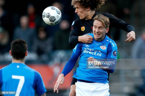 Wout Faes of Excelsior Luuk de Jong of PSV during the Dutch Eredivisie match between Excelsior v PSV at the Van Donge De Roo Stadium on November 26...