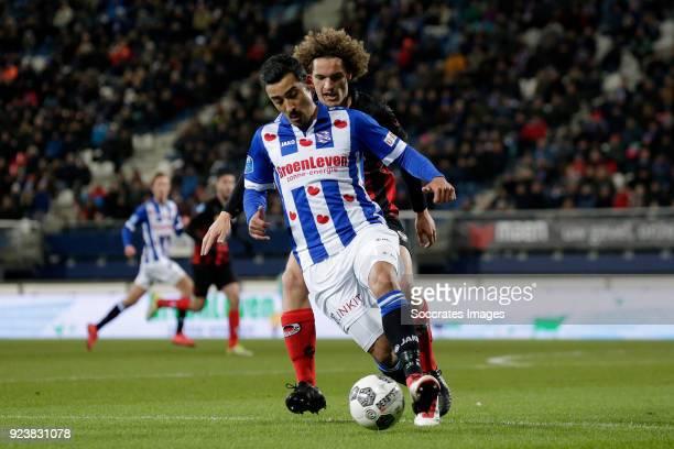 Wout Faes of Excelsior Reza Ghoochannejhad of SC Heerenveen during the Dutch Eredivisie match between SC Heerenveen v Excelsior at the Abe Lenstra...