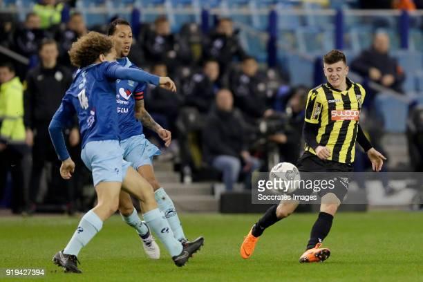 Wout Faes of Excelsior Ryan Koolwijk of Excelsior Mason Mount of Vitesse during the Dutch Eredivisie match between Vitesse v Excelsior at the...
