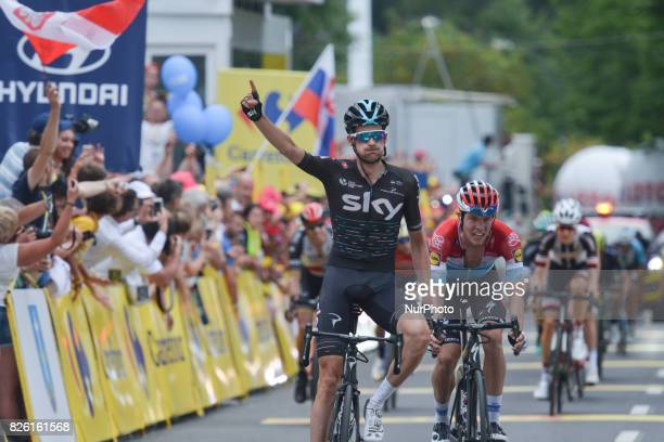 Wout Poels from Team Sky takes the second place ahead of Bob Jungels from QuickStep Floors in the sixth stage won by Jack Haig from OricaScott team a...