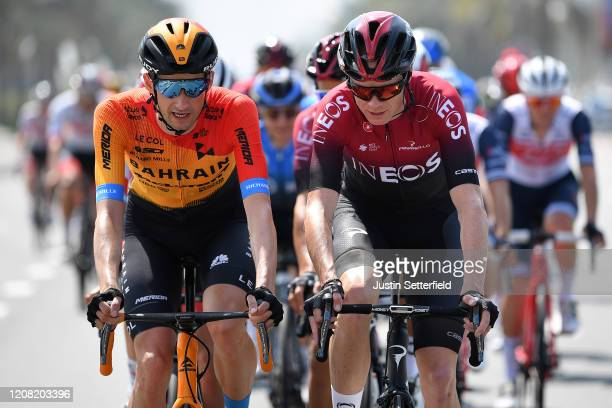 Wout Poels of The Netherlands and Team Bahrain McLaren / Chris Froome of The United Kingdom and Team INEOS / during the 6th UAE Tour 2020 Stage 1 a...